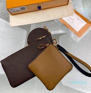 المصممين النمط الكلاسيكي الساخن باريس بيع 3 قطعة مجموعة أكياس المرأة حقائب المحافظ حمل حقائب عملة محفظة ثلاثة البند محفظة 2021