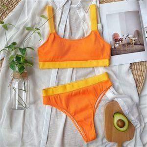 Women's High Waisted Bikini Swimwear Sports Bandeau Biquini Padded Swimsuit Girl Lady Swimming Wear Bathing Suit Top & Bottom 2 pieces