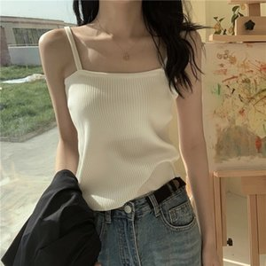 T-shirt Solid Buy Color One Line Collar Open Back Fashion Sexy Short Ice Silk Bra Knitted Small Sling Vest for Women TE2Z