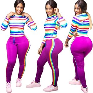 Plus size 2XL Women fall tracksuit two pcs set pullover rainbow top+pants casual stripe outfits outdoor warm sweatsuits jogger suit 2022