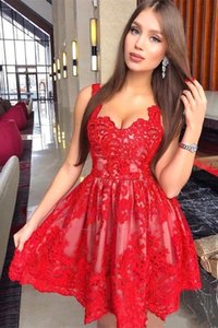 Red Lace Homecoming Dresses 2021 Arabic A Line Spaghetti Straps Short Tulle Prom Cocktail Gowns Evening Dress