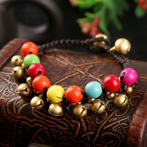 Bells Natural Stone Beads Couple Bracelet Pulseras Mujer Handmade Woven Rope Charm For Women Ethnic Jewerly Bracelets