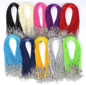 2MM 45CM Colorful Snake Wax Leather necklaces Cord String Rope Wire Extender Chain Fashion DIY jewelry Findings Wholesale