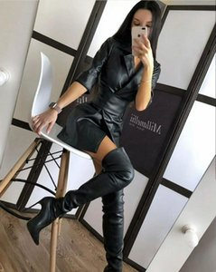 Autumn and winter 2021 women's dress leather coat with belt sexy solid color suit collar medium long sleeve