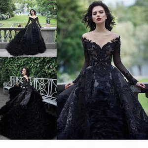 Luxury Sparkly Beaded Sequined Ball Gown Wedding Dress Vintage Black Quinceanera Dresses With Feathers Long Formal Party Bridal Gowns