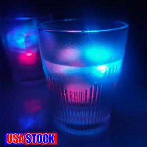 LED Ice Cubes lights Bar Fast Slow Flash Auto Changing Crystal Cube Water-Actived Light-up 7 Color For Romantic Party Wedding Xmas Gift US