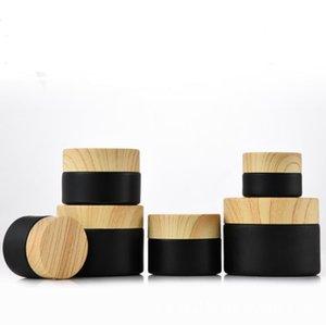 Стекло пустые косметические банки с кремом для лица макияж путешествия портативные бутылки деревянные крышки зерна банку хранение глазурь черная леди SN2320