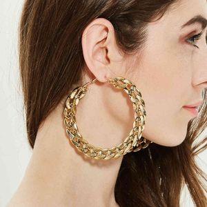 Yutong Flashbuy 트렌디 한 큰 합금 후프 귀걸이 여성 2020 골드 서클 라운드 금속 eearrings 패션 쥬얼리 도매