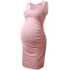 Maternity Dresses Women Dress Mama Clothes Side Ruchied Pregnancy Sundresses Pregnant Clothing