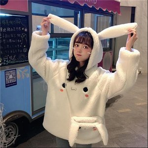 Cute Women Bunny Warm Hoodies Long Sleeve Sweet Kawaii Rabbit Bag Hooded Female Autumn Winter Loose Casual S 3XL