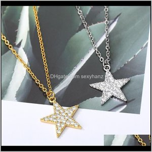 & Pendants Jewelry Drop Delivery Zircon Five Pointed Star Necklace For Women Gold Sier Color Neck Chain Chocker Female Pendant Goth Jewlery 2