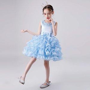 2021 Light Sky Blue Lovely Long Girl's Pageant Dresses Sheer Crew Neck Beaded Crystals Corset Back Tulle Princess Flower Girl