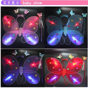Creative Flash Butterfly Back Decoration Girls Gift Luminous Night Market Children Toys