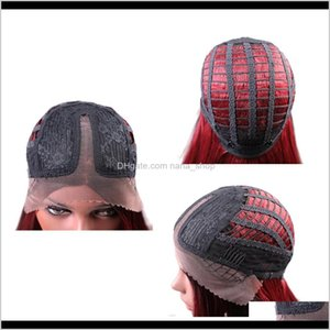 Shampooconditioner 14 '' pizzo frontale corto parrucche dritte parrucca laterale sintetica naturale parrucca vino rosso PBZH1 DLZJP