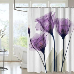 Shower Curtains Custom Printed Waterproof Personalizada Mold Resistant Purple Quality Polyester Luxury Curtain