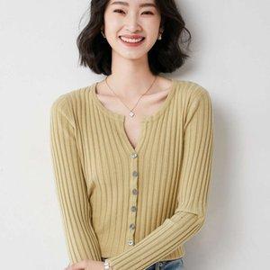 sweater Korean autumn knitted cardigan women's slim long sleeve thin