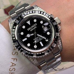 Mens mecánico automático reloj de zafiro espejo impermeable acero inoxidable caja boutique pulsera 40 mm bisel diamante nadador regalo Montre de luxe