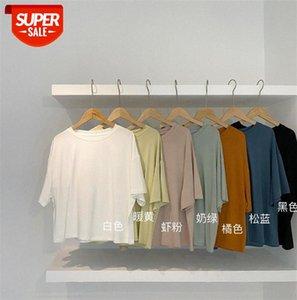 Zhi Zhaoxi cupra short-sleeved T-shirt women Korean style loose casual drape round neck top 6002 #kv80
