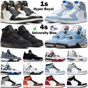 hombres mujeres zapatillas de baloncesto jumpman air jordan 4s University Blue 4 Black cat 1s high OG Hyper Royal Twist Shattered Backboard zapatillas de deporte para hombre