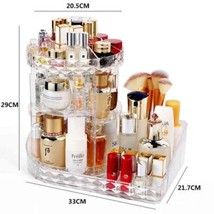 Cosmetic Storage Box 360 Degree Rotating Makeup Rack Crystal Pattern Drawer Organizer Shelf Display Stand Large Capacity