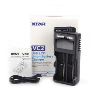 ORIGINAL XTAR VC2 Chager NiMH Cargador de batería Cargador de batería LCD para 18650 18350 26650 21700 Cargador de batería de iones de litio