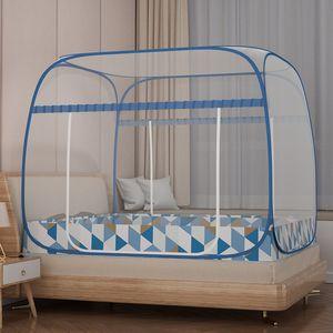 Mongolian yurt net installation free folding square top new household anti mosquito steel wire zipper encryptio8859