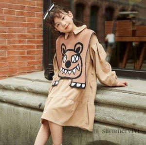 Autumn big girls dresses kids lapel long sleeve tiered ruffle dress+cartoon pattern knitted irregular shawl 2pcs children princess clothing Q1888