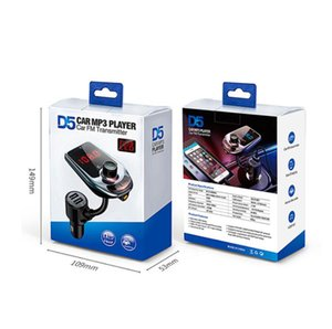 D5 Wireless CAR Bluetooth MP3 Player Radio FM Transmitter Audio Adapter Speaker Fast USB Charger AUX LCD Display