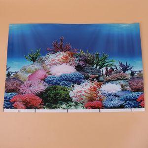 Decorations Background Sticker Adhesive Wallpaper Decorative Pictures Underwater Backdrop Decor For Aquarium Fish Tank (42x30cm G Style)