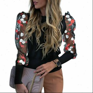 Women Spring Womens Blouses Mesh Puff Long Sleeve Ribbed Knitted Shirt Loose Casual Lace Flower Blouse Tops Elegant Turtleneck Party