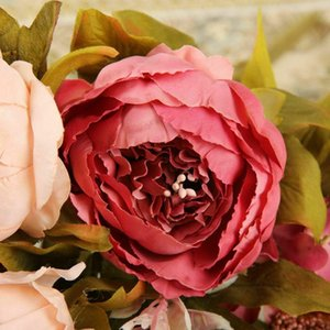 Heads Bouquet Artificial Peony Decorative Party Silk Fake Flowers Peonies For Home El Decor DIY Wedding Decoration Wreath & Wreaths