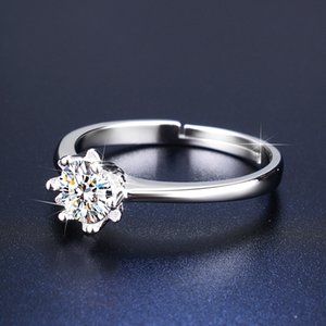 One or two s of Hong Kong imitation Mossan stone ring in 18k White Gold