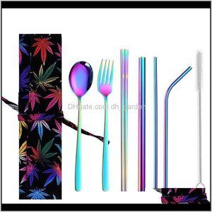 أطباق الفولاذ المقاوم للصدأ السكاكين مجموعات عيدان سبونسون سكين سكين تنظيف فرشاة ملونة المحمولة قابلة لإعادة الاستخدام أواني الطعام مجموعة IIA173 0ie2 i18wl