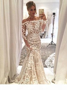 Elegant White Lace Mermaid Evening Dresses Off Shoulder Long Sleeves Sweep Train Gorgeous Prom Party Dress