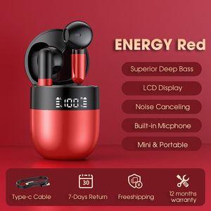 J28 Half-Ear TWS True Wireless Bluetooth 5.0 Earphones Sport Waterproof Earbuds Headsets For Apple, Red