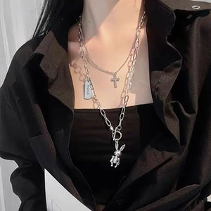 Stainless Steel Mechanical Rabbit Necklace Women's Multi-layer Stacked Belt Ins Hip-hop Pendant Accessories Punk Long Sweater Chain Fashion