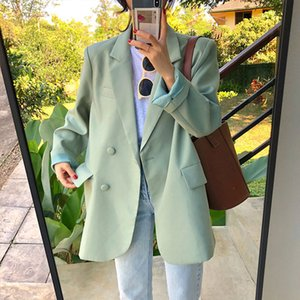 Loose Light Green Notched Women Blazer Solid Long Sleeve One Button Female Suit 2020 Autumn Ladies Fashion Formal Outwear Suits