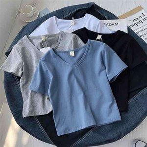T-shirt da donna Super fuoco con scollo a V Collo a manica corta Estate coreano stretto stretto solido vita all'ombelico Top E7oy