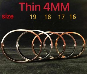 Thin 4MM stainless steel gold bangle bracelet for mens women Fashion jewelry Wedding lover gift with BOX