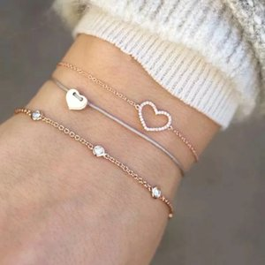 Boho Charm Gold Bracelets Heart Beaded Strands Vintage Bangles Jewellery For women Braclet Accessories Bracelet Set Gifts