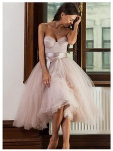 Short Informal Strapless Wedding Dress 2021 Beach Bride Dress Knee Length Pink Tulle Wedding Gowns vestidos de novia