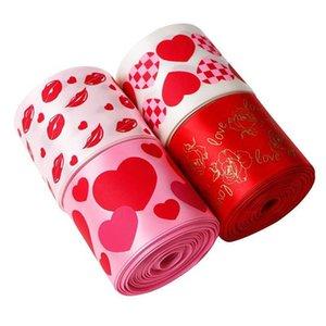 선물 포장 리본 폴리 에스터 리본 사랑 입술 장미 인쇄 발렌타인 데이 휴일 장식 편리하고 실용적인