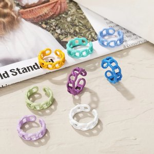 Candy Color Hollow Chain Ring Retro Index Finger Adjustable Open Rings for Women Men Fashion Jewelry Gifts