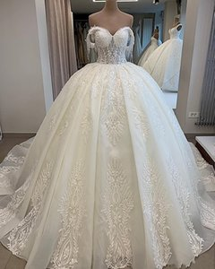 2021Vintage Lace Appliqued Ball Gown Wedding Dress With Tassels Luxury Off Shoulder Train Plus Bridal