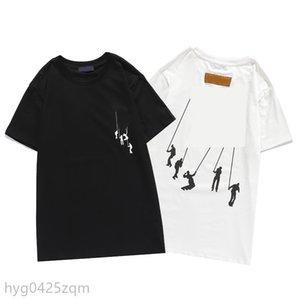 2021SS роскошный мужской дизайнер футболка высокое качество мужчин женщин пары повседневные с коротким рукавом мальчик круглые шеи тройники 2 цвета