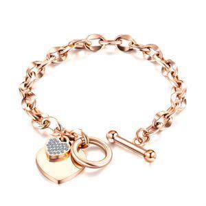 Charms Bracelets Zircon Jewelry Simple Geometric OT Buckle Love Heart Titanium Steel Bracelet Accessories for Women