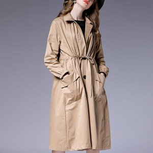 Women's Trench Coats Autumn Windbreaker Long Plus Size Womens Loose Fashion Coat Temperament Elegant Sleeve Collect Waist Solid