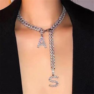 Exaggerated Bling Rhinestones A S Pendant Necklace Chunky Cuban Chain For Women Ladies Wide Jewellery Necklaces