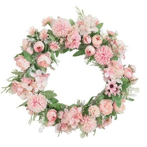 Artificial Peony Hydrangea Wreath Spring For Front Door Wedding Wall Birthday Party Farmhouse Garden Home Decor Decorative Flowers & Wreaths