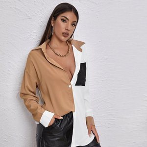 Women's Blouses & Shirts French Contrast Color Blouse Summer 2021 Loose And Thin Design Sense Stitching Pocket Long-sleeved Shirt